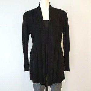 August Silk Black Cotton Cardigan
